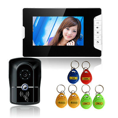 "7"" Wired Video Intercom Door Phone System Doorbell With Key Video Monitor Camera"