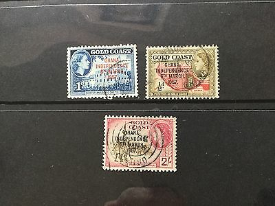 Ghana 1957 independence overprint - 3 stamps used