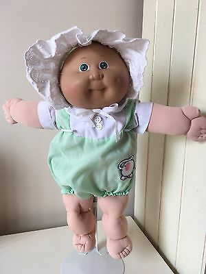 Cabbage Patch Kid - 1985 Preemie Green Eyes, Tuft Of Blond Hair & Vintage Outfit