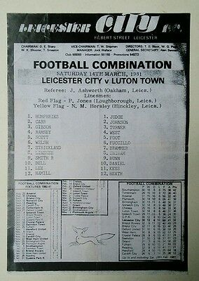 Leicester City Reserves v Luton Town (Combination) 1980/1 Lineker Fuccillo