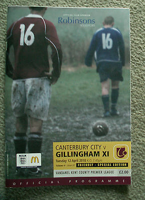 10/11 Canterbury City vs Gillingham Programme (Fri)