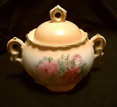 Vintage China sugar bowl with lid, yellow with pink roses, Slovakia Greene