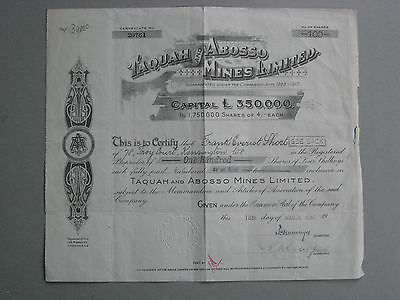 Afrika Ghana Taquah and Abosso Mines Ltd 100 Aktien 4/-
