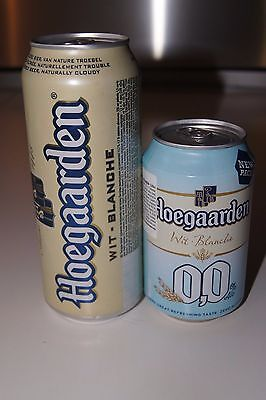 Two empty Hoegaarden beer cans set new design edition bottom opened rare