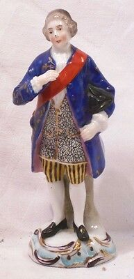 C19Th Sitzendorf Figure Of A Stately Gentleman With A Sash