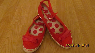 Next Size 3 Girls Red Canvas Shoes - Worn once