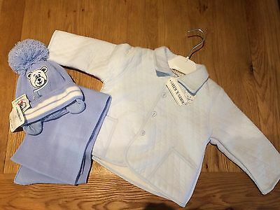BNWT Baby Boy 'Kris X' Quilted Jacket With Hat And Scarf - Age 6-9 Months