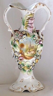 Early C19Th Coalbrookdale  Hand Painted Twin Handled Vase With Pictures A/f