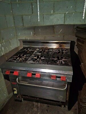 6 stove burners with oven and gas salamander