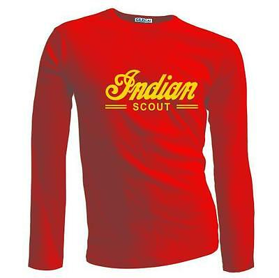 New Retro Vintage Classic Indian Scout Motorcycle Biker Long Sleeve T-shirt
