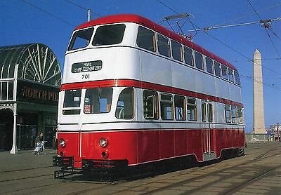 Postcard of Blackpool Transport 701 Balloon Car Tram in Routemaster livery