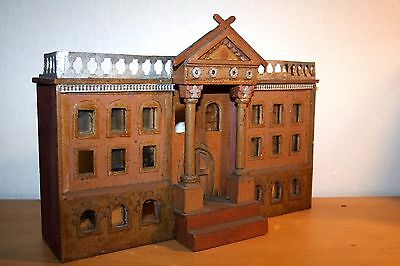 Antique Beautiful Building, old cardboard and wood, painted in color.