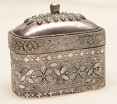 """Antique Sterling Silver Decorated Trinket Box Jewelry """"80"""" hallmarked Russian?"""
