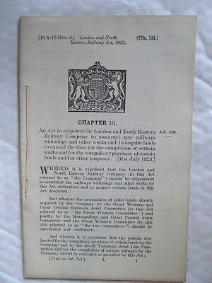 The London & North Eastern Railway Act, 1925. Historic Railway Act.