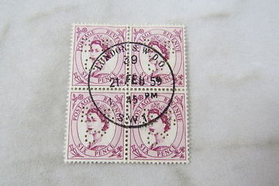 4-block stamps Briefmarken GB/UK England Perfin ''BSC'' London used 1959