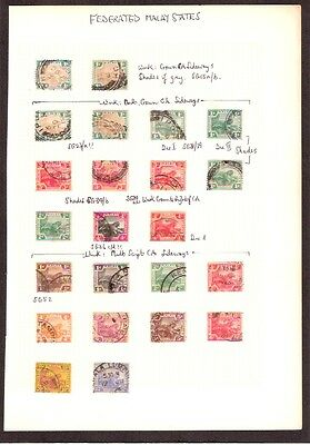 Federated Malay States 1900-34 Tiger Definitives On Album Page