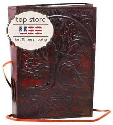 Leather Blank Book Sacred Oak Tree Retro Style Journal Diary Planner Notebook