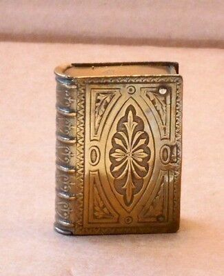 Victorian Brass Vesta Case Shaped As A Book
