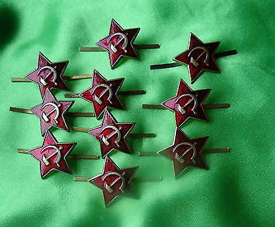 10 Russian Military Red Enamel Star Pin Badges - Hammer & Sickle Design - Unused
