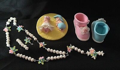 10cm Baby Girl Boy Plaque Shoes Booties Rosary Beads Edible Fondant Cake Toppers