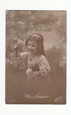 CHARMING POSTCARD OF A GIRL WITH LOTS OF FLOWERS (UN BAISER)  YOLANDE No 417