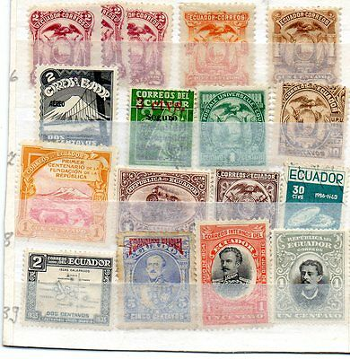 Small selection of Stamps from Ecuador, MH and FU.