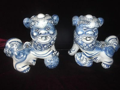 Pair of Vintage Blue and White Chinese Foo Dogs