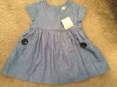Baby Girls Soft Denim Blue Dress From Next Brand New With Tags Age 6-9 Months