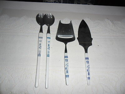 Blue Willow Salad Servers, Cheese Slicer And Cake Server