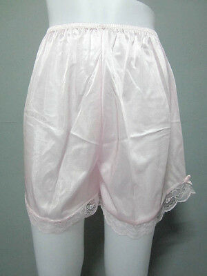 Vintage Silky Nylon Petticoat Women's Panties French Knickers Lingerie #M Pink