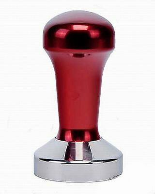 58mm Barista Coffee Hand Tamper Red Anodised Handle Stainless Steel Flat Base