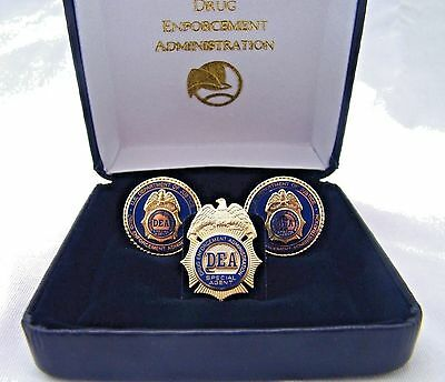 Department of Justice Drug Enforcement Administration DEA Cufflinks and Tie Tac