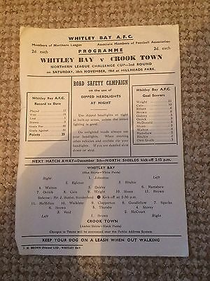 VERY RARE WHITLEY BAY v CROOK TOWN NORTHERN LEAGUE CUP 28/11/1964  1 sheet