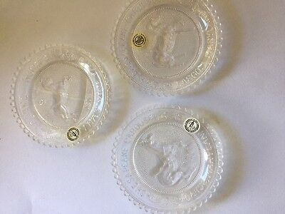 Pairpoint Cup Plate Lot of 3 Carousel Flying Horses, Chesapeake Horse & Kangaroo