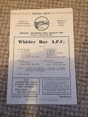 VERY RARE WHITLEY BAY v NEWBURN   NORTHUMBERLAND SENIOR CUP 25/03/1961