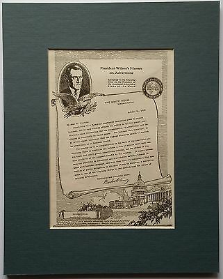 """President Wilson's 1916 Message on Advertising     Original ad Matted to 8 x 10"""""""