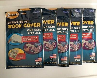 Shrink To Fit Book Cover Its Academic. One Size Fits All. 10 TOTAL, BRAND NEW!!