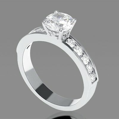 Real 18K White Gold Enhanced Round Cut Diamond Engagement Ring 1.30 CT D/SI1