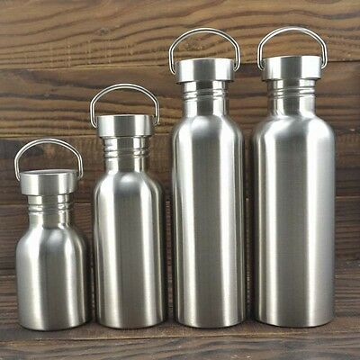 1x Portable Stainless Steel Water Bottle Outdoor Camping Water Cup Bike Drinks