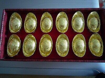 "12 Pcs Gold Ingot ""Yuen Bao"" Ancient Chinese Money Feng Shui Wealth Fortune"