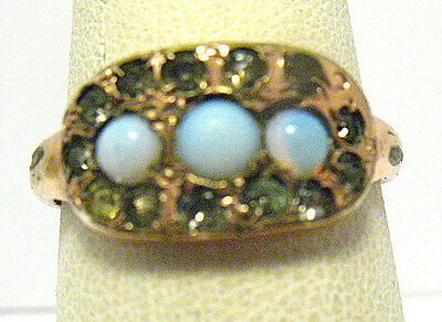 Victorian Opal Paste Rhinestone Ring Size 7
