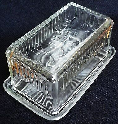 Vintage-Style Glass Butter Dish & Lid-Louella-40's/50's-Lovely-Great Condition!!