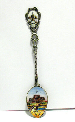 Antique 800 Silver Enamel Sugar Spoon Rome Italy Style 2 9.6 Grams