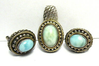 18K Gold Sterling Silver Turquoise Jewelry Set Earrings Omega Back Pendant