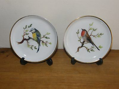 Pair of Vintage Rosenthal Porcelain Hand Painted Pin Dishes ~ Garden Birds