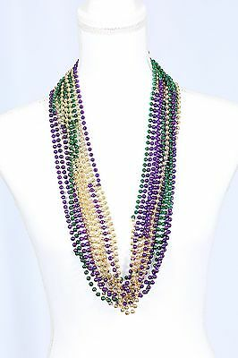 12 Mardi Gras beaded necklaces, purple green gold, multi colored