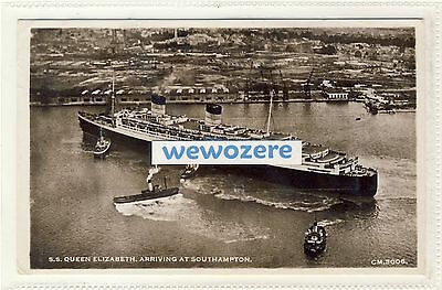 SS (RMS) Queen Elizabeth, Arriving at Southampton, RPPC, 1946-47