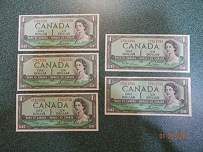 Canada  - 1954 Series ( $1 X 5 ) 5 Consecutive Serial Numbers (#14)