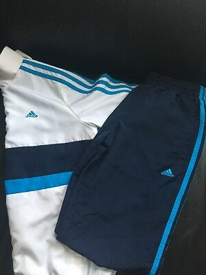 Boys Adidas Tracksuit White Blue Navy 9-10 Years Excellent Condition RRP £34.99
