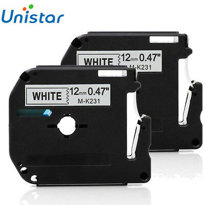 2 pk Label Tape Compatible for Brother P-touch M-K231 MK231 12 mm Black on White